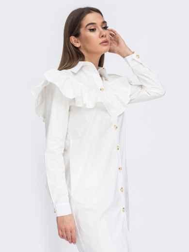 Платье-рубашка молочного цвета с воланом на кокетке 44783, фото 4