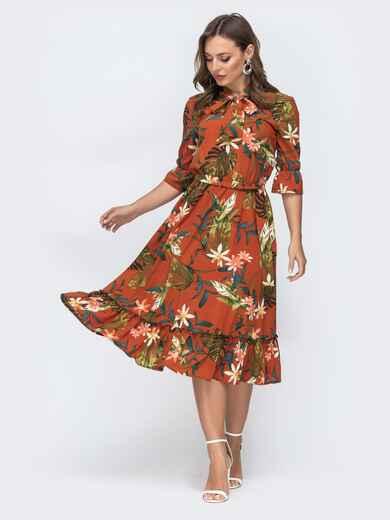 Платье с тропическим принтом и воротником-аскот терракотовое 45604, фото 1