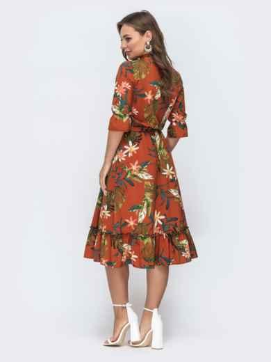 Платье с тропическим принтом и воротником-аскот терракотовое 45604, фото 2