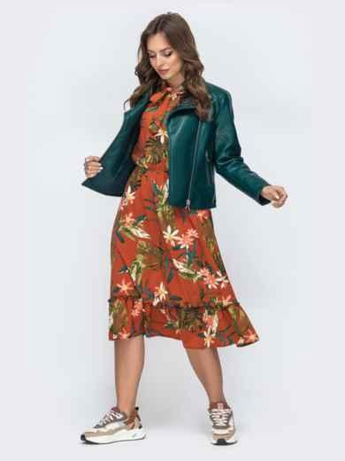 Платье с тропическим принтом и воротником-аскот терракотовое 45604, фото 3