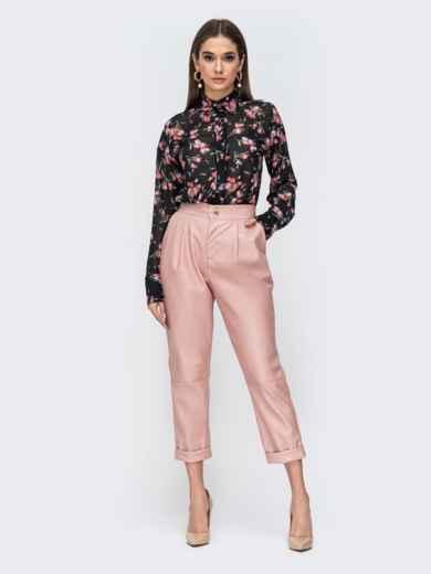 Розовые брюки из эко-кожи с высокой посадкой 44737, фото 4