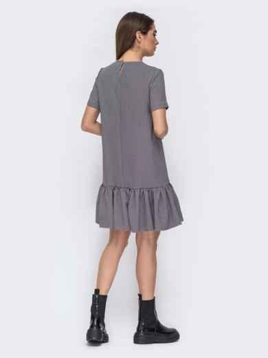 Серое платье в клетку с вланом по низу 44782, фото 3