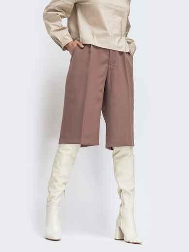 Широкие шорты коричневого цвета с завышенной талией 44791, фото 1