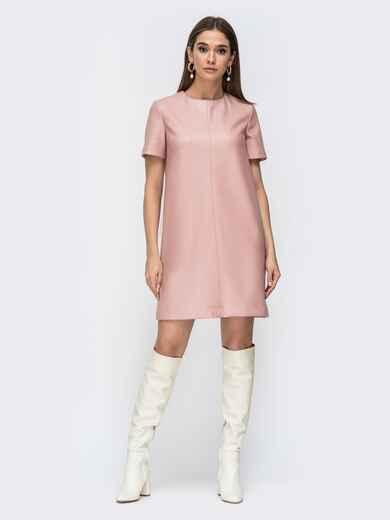 Свободное платье-мини из эко-кожи пудровое 44780, фото 1