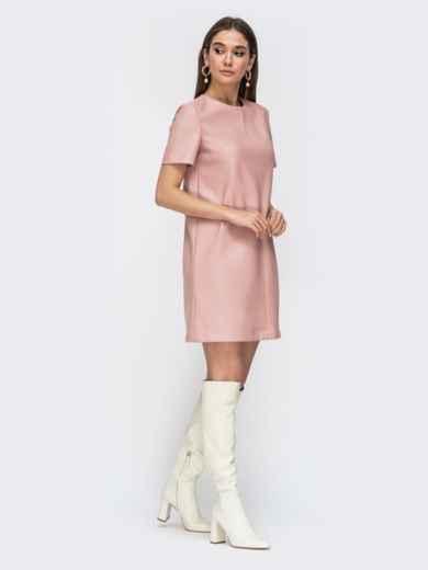 Свободное платье-мини из эко-кожи пудровое 44780, фото 2