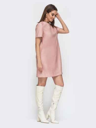 Свободное платье-мини из эко-кожи пудровое 44780, фото 3