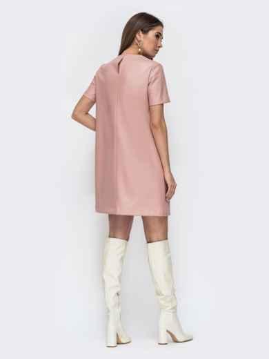 Свободное платье-мини из эко-кожи пудровое 44780, фото 4