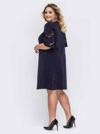 Тёмно-синее платье батал с люрексом и кружевной вставкой 43887, фото 2