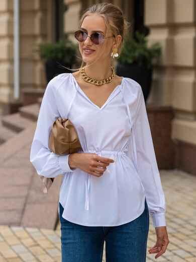 Белая блузка с рукавом-реглан и кулиской по талии 49768, фото 1