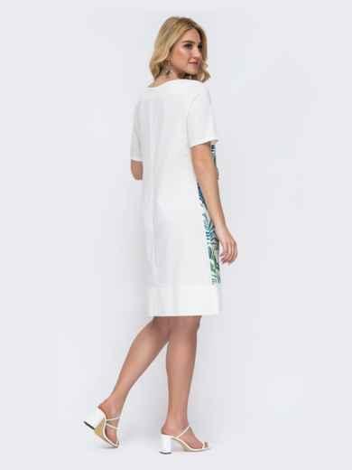 Белое платье батал прямого кроя с растительным принтом 49214, фото 2