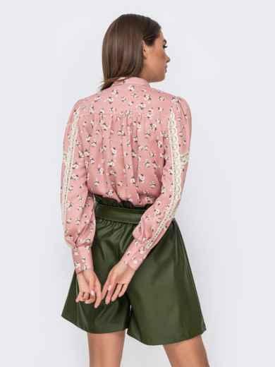 Блузка с принтом и кружевными вставками розовая 51173, фото 2