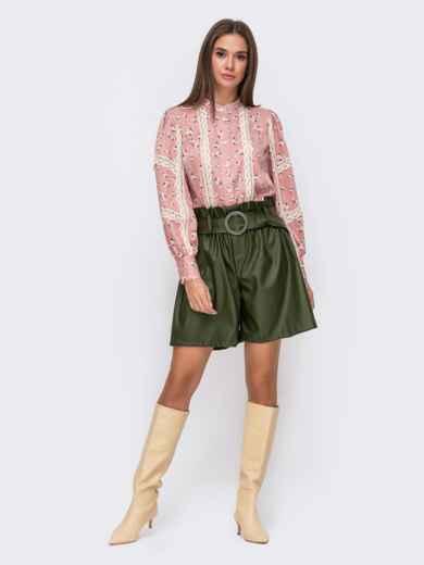 Блузка с принтом и кружевными вставками розовая 51173, фото 3