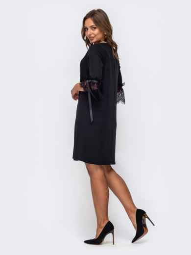 Чёрное платье-трапеция с кружевом на рукавах 50235, фото 2