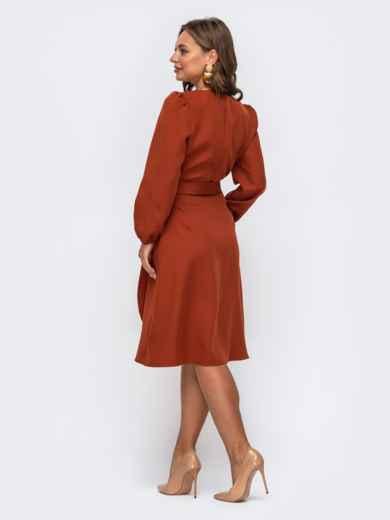 Лаконичное платье на запах терракотового цвета 50238, фото 3