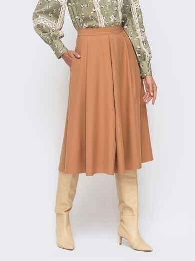 Расклешенная юбка-миди бежевого цвета 51175, фото 1