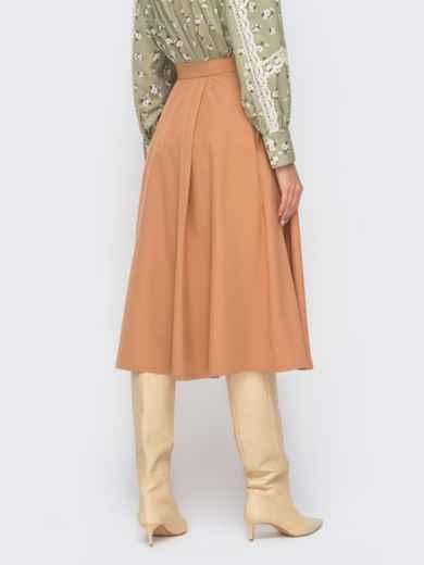 Расклешенная юбка-миди бежевого цвета 51175, фото 2