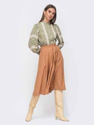 Расклешенная юбка-миди бежевого цвета 51175, фото 3