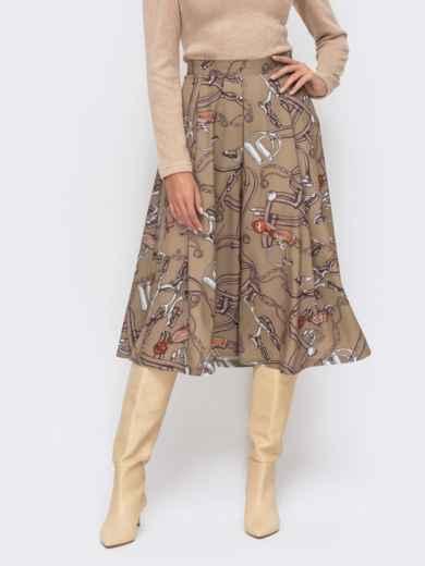 Расклешенная юбка-миди с принтом бежевая 51174, фото 2
