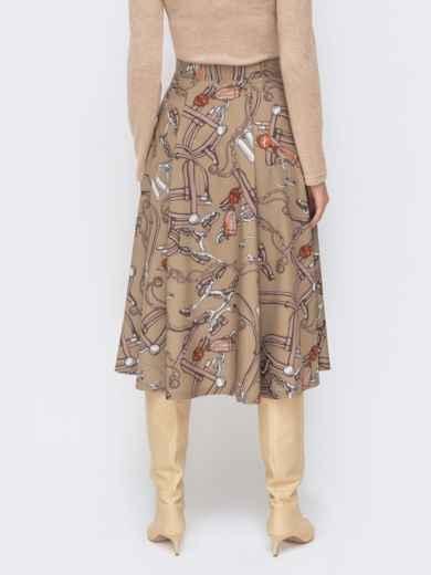 Расклешенная юбка-миди с принтом бежевая 51174, фото 3