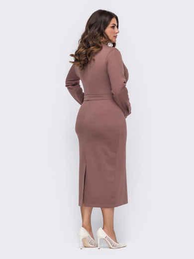 Трикотажное платье-миди большого размера коричневое 51240, фото 2