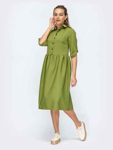 Зелёное платье-миди с отложным воротником 44874, фото 1
