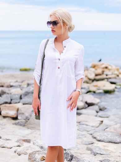 Белое льняное платье-рубашка прямого кроя с пуговицами 11314, фото 1