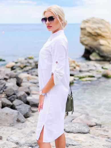 Белое льняное платье-рубашка прямого кроя с пуговицами 11314, фото 2