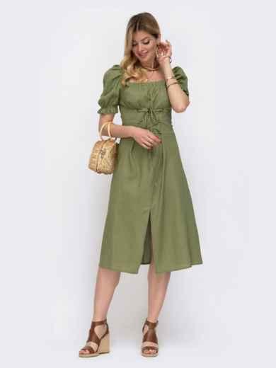"""Льняное платье цвета хаки с рукавом """"фонарик"""" 48083, фото 2"""