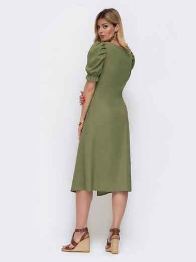 """Льняное платье цвета хаки с рукавом """"фонарик"""" 48083, фото 3"""