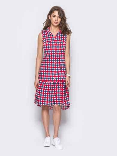 Платье-рубашка в красно-голубую клетку с удлиненной спинкой 11646, фото 2