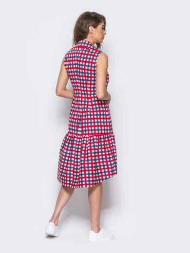 Платье-рубашка в красно-голубую клетку с удлиненной спинкой 11646, фото 3