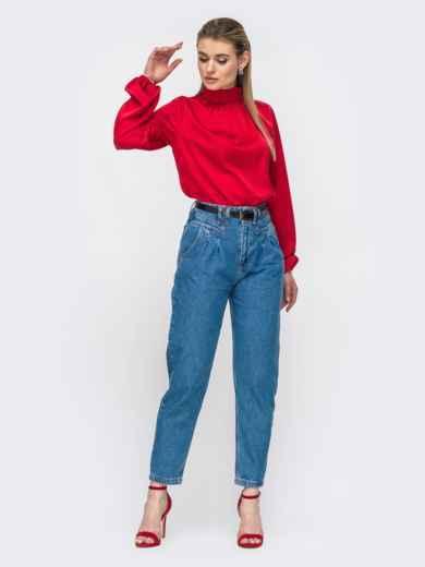 Шелковая рубашка с воротником-стойкой красная 45750, фото 3