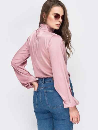 Шелковая рубашка с воротником-стойкой розовая 45751, фото 3