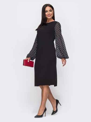 Чёрное платье батал с рукавами из шифона в горох 51530, фото 2