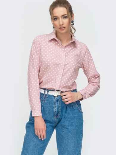 Блузка на пуговицах в горох розового цвета 46896, фото 1