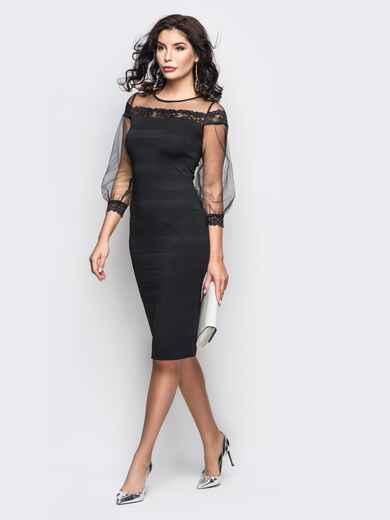 Платье из дайвинга с фатиновой кокеткой и рукавами черное 11246, фото 1
