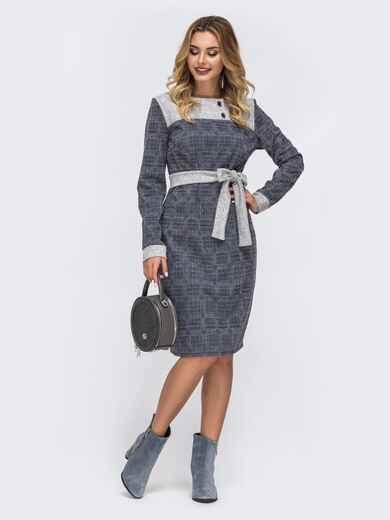Платье в клетку с контрастной кокеткой серое 42707, фото 1