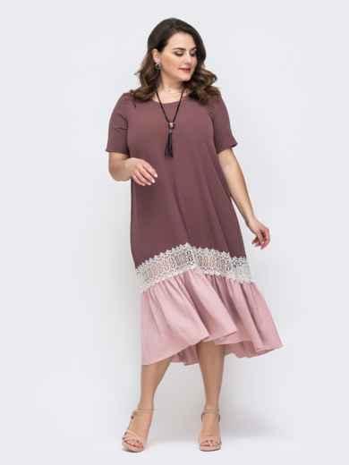 Пудровое платье батал с контрастным воланом по низу 46441, фото 2