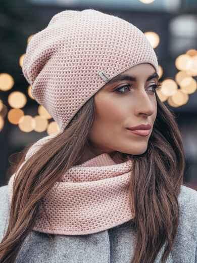 Розовые шапка и хомут рельефной вязки 15533, фото 1