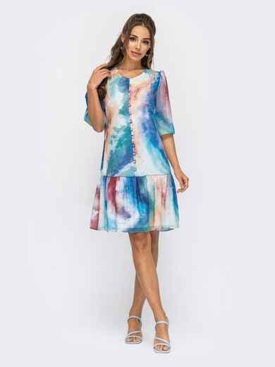 Шифоновое платье с принтом тай-дай и воланом по низу голубое 53796, фото 1