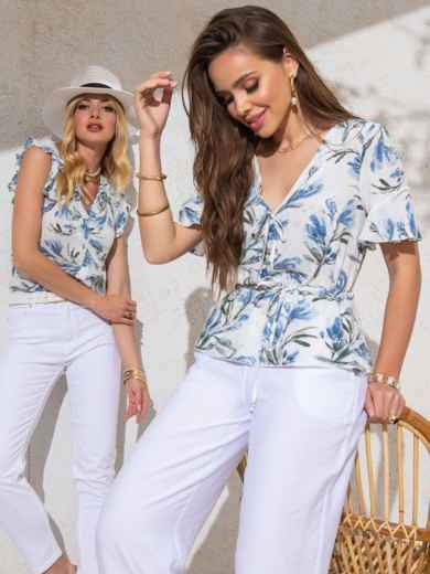 Белая блузка из софта с принтом и V-вырезом 49124, фото 1