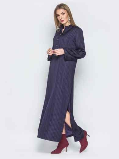 Фиолетовое платье-макси со шлёвками на рукавах 18733, фото 2