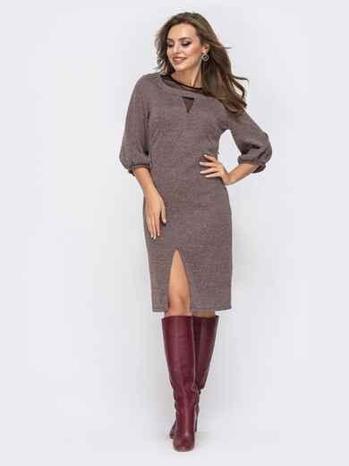 """Трикотажное платье с вырезом """"замочная скважина"""" на полочке коричневое 42576, фото 1"""