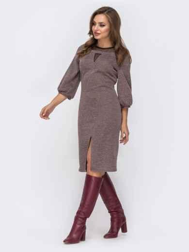 """Трикотажное платье с вырезом """"замочная скважина"""" на полочке коричневое 42576, фото 2"""