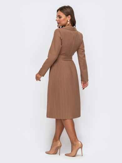 Платье бежевого цвета с лифом на запах и юбкой-плиссе 50242, фото 2