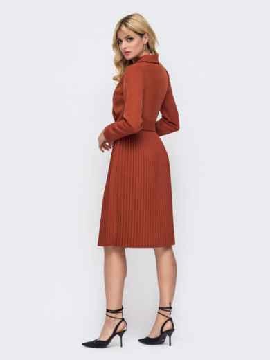 Платье терракотовго цвета с лифом на запах и юбкой-плиссе 50241, фото 2