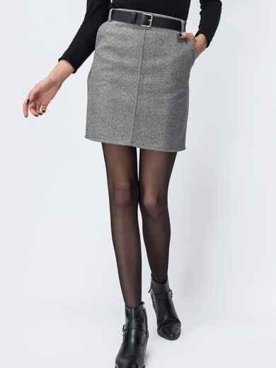 Серая юбка-мини с поясом и карманиами 44092, фото 1