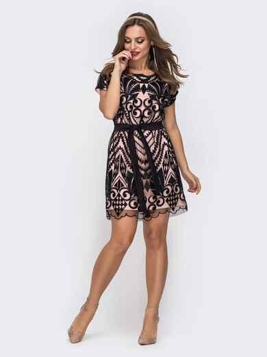 Двухслойное платье с пайетками на фатине пудровое 46659, фото 1