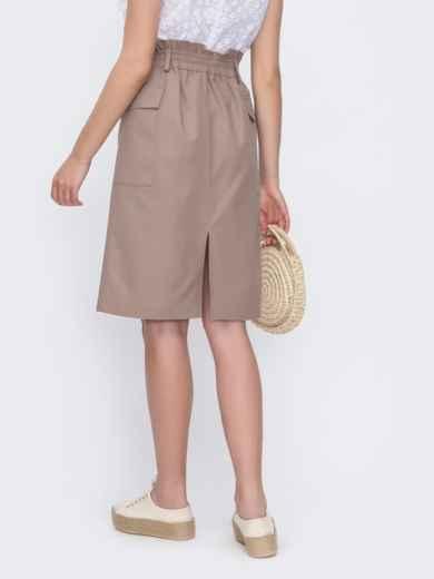 Льняная юбка прямого кроя бежевого цвета 49362, фото 2