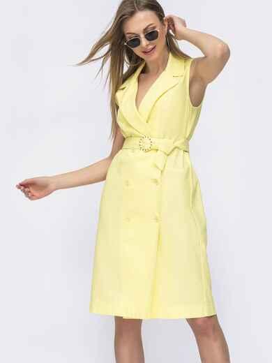 Льняное платье-пиджак с поясом желтое 46661, фото 1